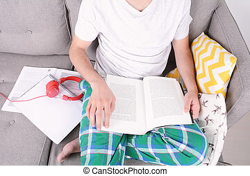 Young man studying.