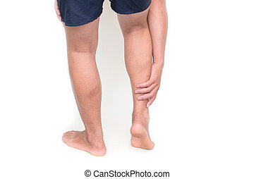 Young man suffering from pain in leg isolated on white background