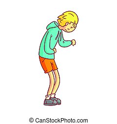 Young man suffering from stomach pain. Colorful cartoon character