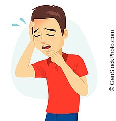 Young Man Suffering Migraine - Young man with holding head ...