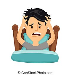 Young man suffers from lack of sleep. Vector flat modern...