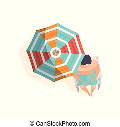 Young man sunbathing on the beach under umbrella, top view vector Illustration on a white background