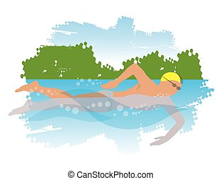 Young man swimming in the river.