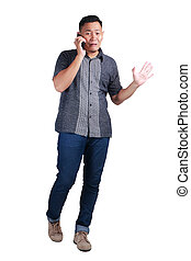 Young Man Talking at Phone, Cried Worried Expression