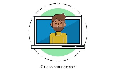 Young man talking from computer HD animation