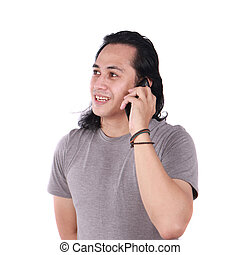 Young Man Talking on his Phone, Happy Smiling Laughing
