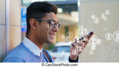 Young man talking on mobile phone 4k