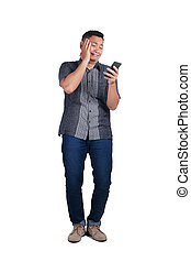 Young Man Talking on Phone, Crying Expression