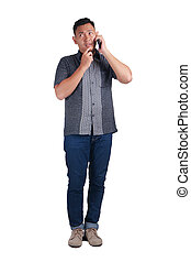 Young Man Talking on Phone, Thinking Expression