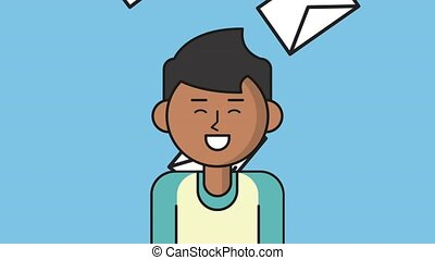 Young man talking over envelopes background HD animation