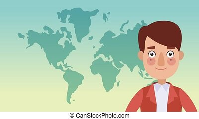 Young man talking with blank bubble speech HD animation