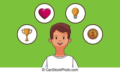 Young man technology symbols HD animation