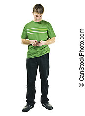 Young man texting on cell phone - Young man texting on...