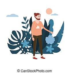 Young man, the guy in pink T-shirt. Background flora flowers floral leaves. Trend design flat cartoons. Colorful vector illustration isolated