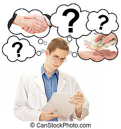 Young man thinking about his job as medical doctor