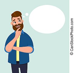 Young man thinking and blank thought/speech bubble. Vector illustration in cartoon style.