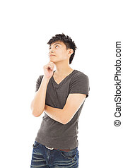 young man thinking or doubt on a white background
