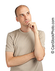 young man thinking about something