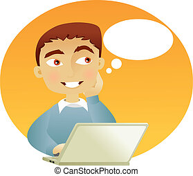 Young man thinking with a laptop and an speech bubble