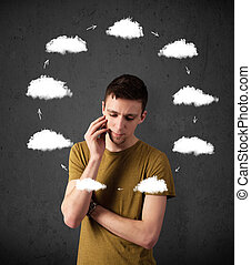 Thoughtful young man with drawn clouds circulating around his head
