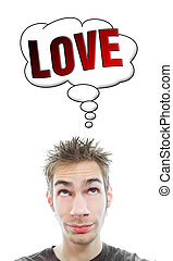 Young man thinks about Love