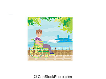 young man tourist on a wheelchair