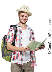 young man tourist smiling