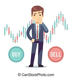 Young man trader and business candlestick chart with buy and sell buttons. Stock market and trade exchange vector concept