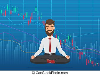 Young man trader meditating under falling crypto or stock market exchange chart. Business trader, finance stock market graph concept. Falling bearish Stock Market.