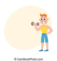 Young man training biceps with dumbbell, weightlifting in gym