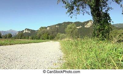 Young man training on mountain bike
