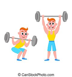 Young man training with barbell - squatting, doing shoulder press, weightlifting