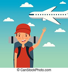 young man traveler vacation with backpack and fly airplane sky