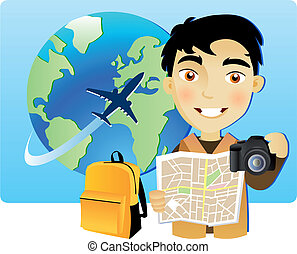 Young man travelling around the world with a map and a...