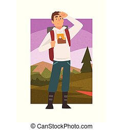 Young Man Travelling with Backpack, Male Traveller Looking into Distance in Summer Mountain Landscape, Outdoor Activity, Travel, Camping, Backpacking Trip or Expedition Vector Illustration