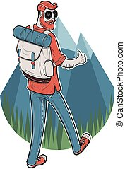 Young man trekking - Vector illustration of a male tourist...