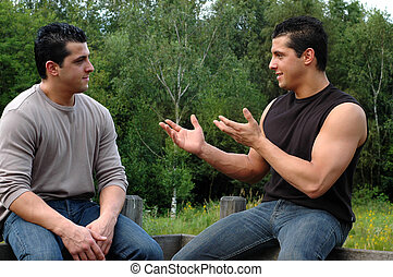 Young man, twins. - Two attractive young men, twins on their...