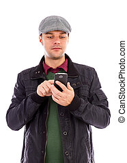 Young man using a mobile smart phone