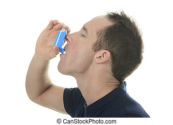 Young man using  an asthma inhaler as prevention
