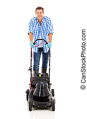 young man using electric mower