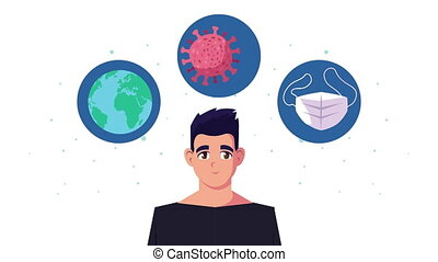 young man using face mask with covid19 icons