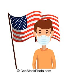 young man using face mask with flag usa