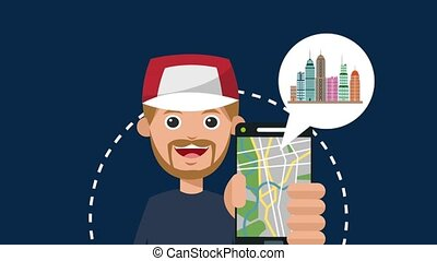 Young man using gps app HD animation