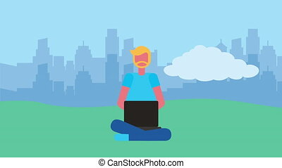 young man using laptop character