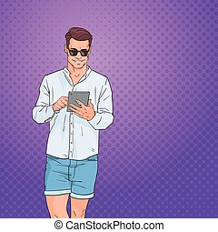 Young Man Using Tablet Computer Networking Online Over Pop Art Colorful Retro Style Background