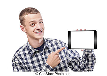 Young man using tablet pc