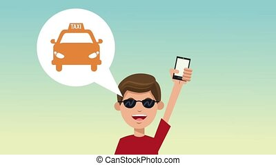 Young man using Taxi app HD animation