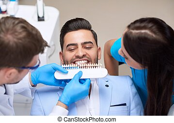 Young man visiting dentist