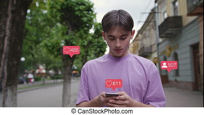 Young Man Vlogger Influencer. Animation with User Interface - Likes, Followers, Comments for Social Media from Smartphone. Response. Successful Emotion.