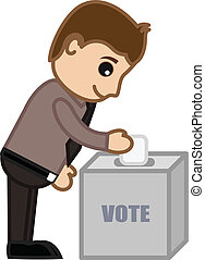 Conceptual Drawing Art of Young Cartoon Man Voting and Dropping Paper in Drop Box Vector Illustration